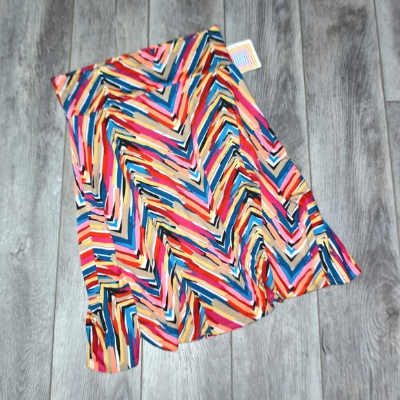 LULAROE Azure Colorful Chevron Print Midi Skirt